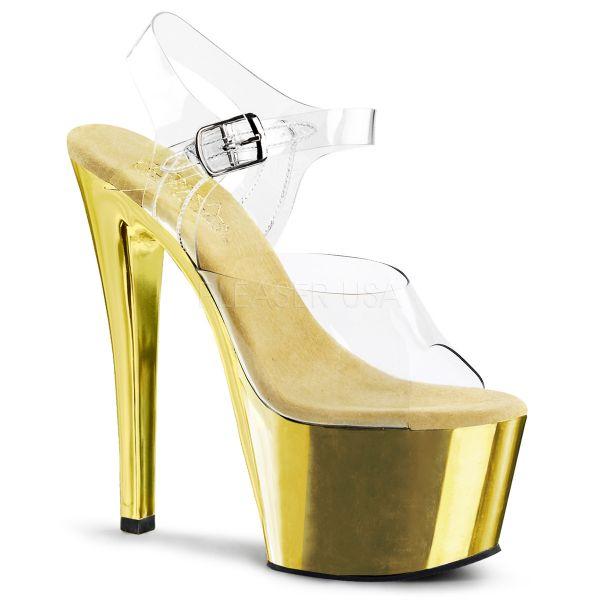 Durchsichtige Riemchen Sandalette mit goldfarben verchromtem Plateau SKY-308